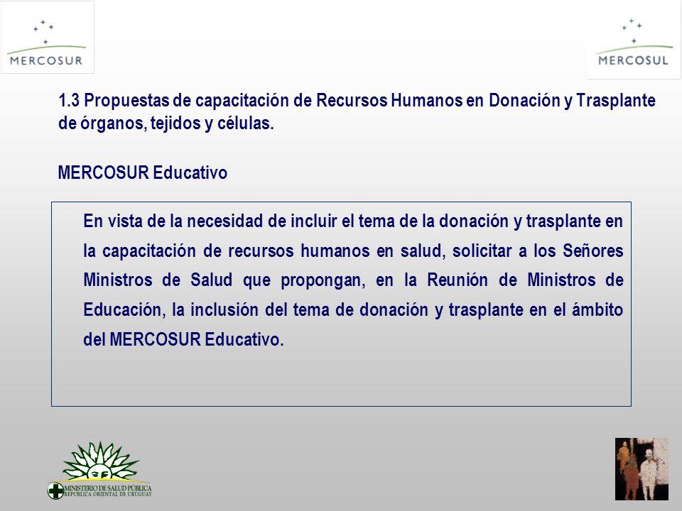 1.3 Propuestas de capacitación de Recursos Humanos en Donación y Trasplante de órganos, tejidos y células.