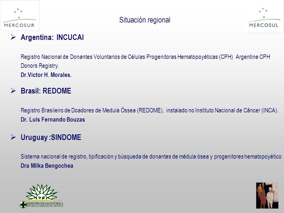 Situación regional Argentina: INCUCAI Registro Nacional de Donantes Voluntarios de Células Progenitoras Hematopoyéticas (CPH) Argentine CPH Donors Registry.