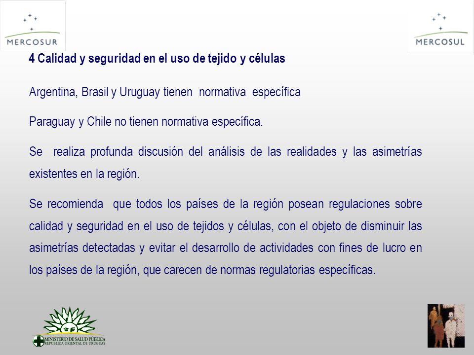 4 Calidad y seguridad en el uso de tejido y células Argentina, Brasil y Uruguay tienen normativa específica Paraguay y Chile no tienen normativa específica.