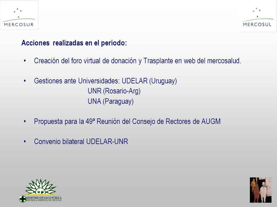 Acciones realizadas en el período: Creación del foro virtual de donación y Trasplante en web del mercosalud.