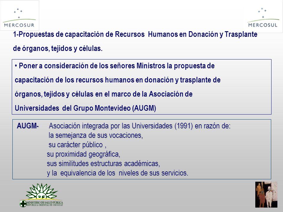 Poner a consideración de los señores Ministros la propuesta de capacitación de los recursos humanos en donación y trasplante de órganos, tejidos y células en el marco de la Asociación de Universidades del Grupo Montevideo (AUGM) 1-Propuestas de capacitación de Recursos Humanos en Donación y Trasplante de órganos, tejidos y células.