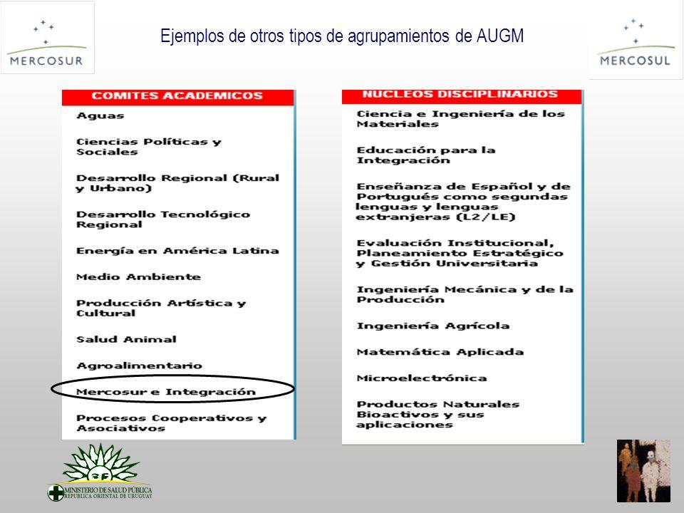 Ejemplos de otros tipos de agrupamientos de AUGM