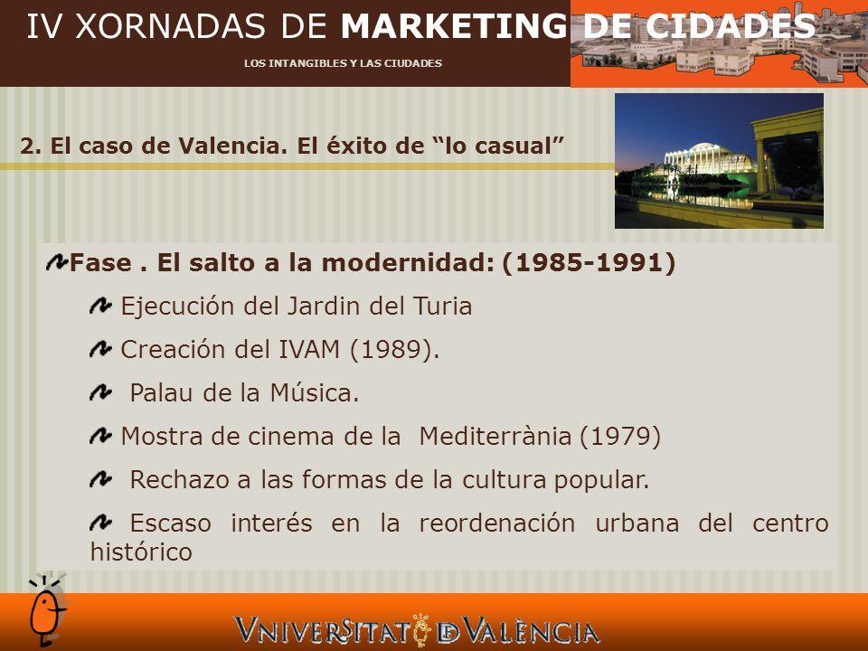 IV XORNADAS DE MARKETING DE CIDADES LOS INTANGIBLES Y LAS CIUDADES 2. El caso de Valencia. El éxito de lo casual Fase. El salto a la modernidad: (1985