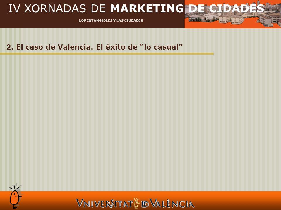 IV XORNADAS DE MARKETING DE CIDADES LOS INTANGIBLES Y LAS CIUDADES 2. El caso de Valencia. El éxito de lo casual