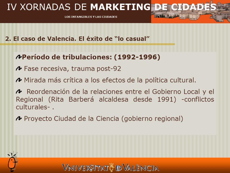 IV XORNADAS DE MARKETING DE CIDADES LOS INTANGIBLES Y LAS CIUDADES 2. El caso de Valencia. El éxito de lo casual Período de tribulaciones: (1992-1996)