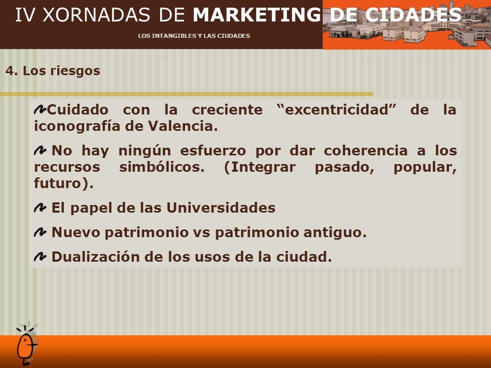 IV XORNADAS DE MARKETING DE CIDADES LOS INTANGIBLES Y LAS CIUDADES 4. Los riesgos Cuidado con la creciente excentricidad de la iconografía de Valencia