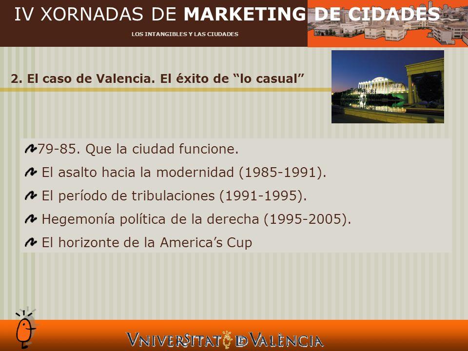 IV XORNADAS DE MARKETING DE CIDADES LOS INTANGIBLES Y LAS CIUDADES 2. El caso de Valencia. El éxito de lo casual 79-85. Que la ciudad funcione. El asa