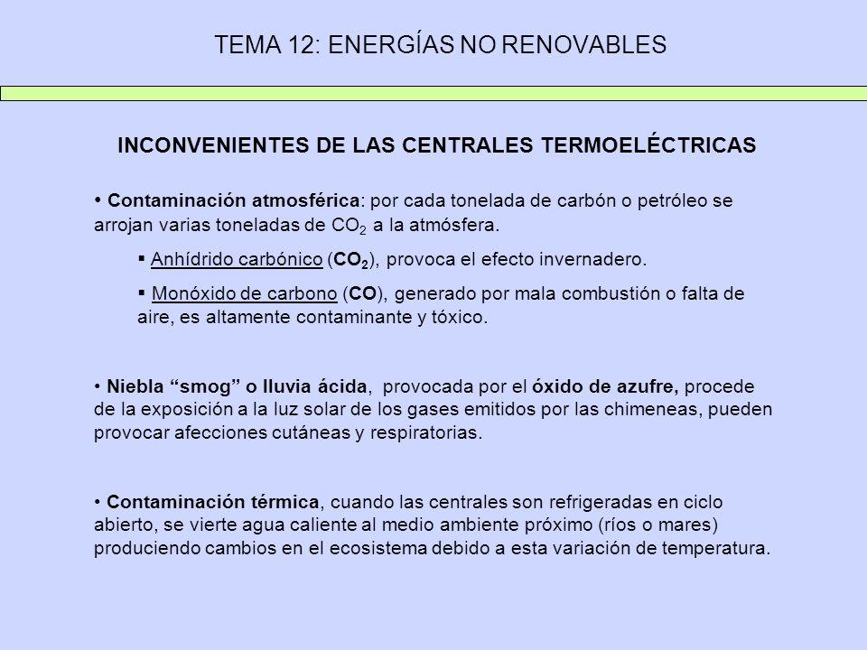 INCONVENIENTES DE LAS CENTRALES TERMOELÉCTRICAS Contaminación atmosférica: por cada tonelada de carbón o petróleo se arrojan varias toneladas de CO 2 a la atmósfera.
