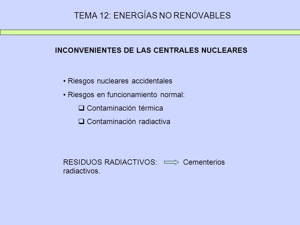 INCONVENIENTES DE LAS CENTRALES NUCLEARES Riesgos nucleares accidentales Riesgos en funcionamiento normal: Contaminación térmica Contaminación radiactiva RESIDUOS RADIACTIVOS: Cementerios radiactivos.