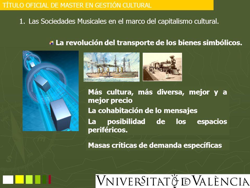 TÍTULO OFICIAL DE MASTER EN GESTIÓN CULTURAL 1.Las Sociedades Musicales en el marco del capitalismo cultural. La revolución del transporte de los bien