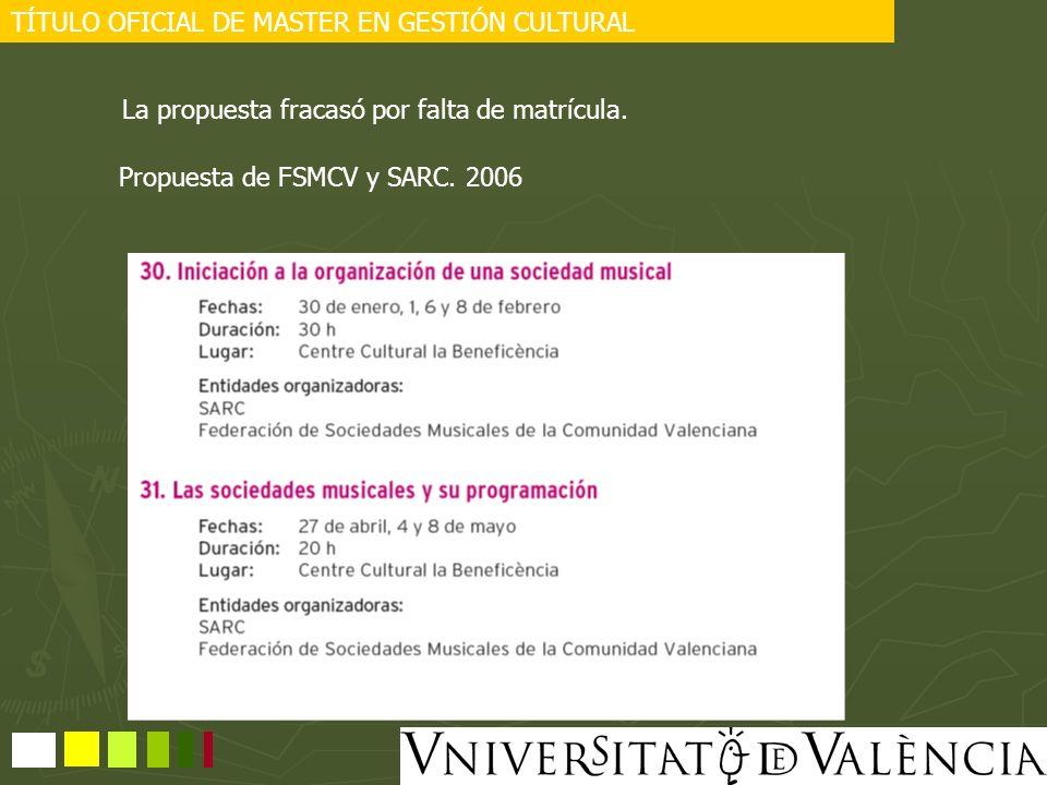 TÍTULO OFICIAL DE MASTER EN GESTIÓN CULTURAL La propuesta fracasó por falta de matrícula. Propuesta de FSMCV y SARC. 2006