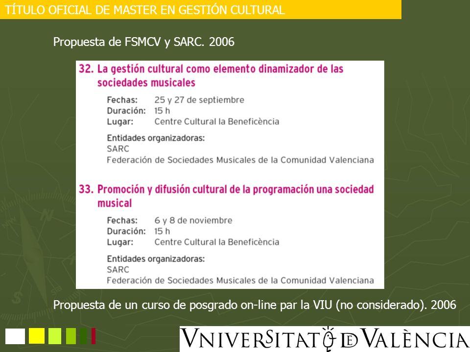 TÍTULO OFICIAL DE MASTER EN GESTIÓN CULTURAL Propuesta de FSMCV y SARC. 2006 Propuesta de un curso de posgrado on-line par la VIU (no considerado). 20