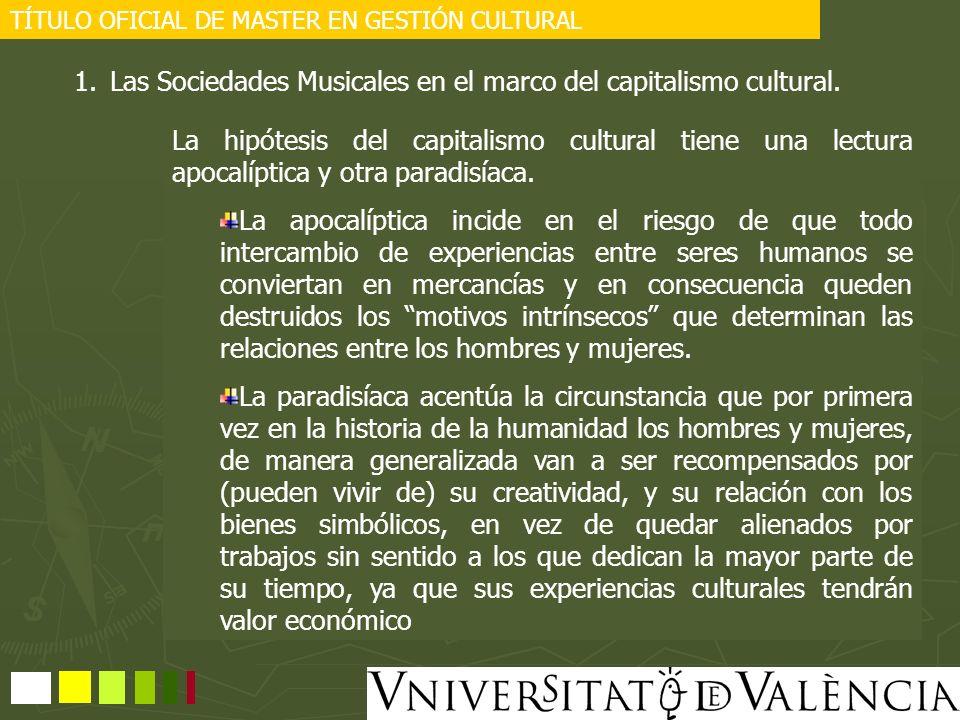 TÍTULO OFICIAL DE MASTER EN GESTIÓN CULTURAL Estructura de la FSMCV http://www.fsmcv.org/ La FEDERACION DE SOCIEDADES MUSICALES DE LA COMUNIDAD VALENCIANA (FSMCV) se constituye como una organización sin ánimo de lucro, de carácter no oficial, con el propósito de integrar y coordinar el movimiento asociativo musical y cultural de la Comunidad Valenciana, cuyo máximo exponente está representado por las Sociedades Musicales con escuela y banda de Música, entidades que, tradicionalmente, han contribuido a conservar el patrimonio cultural y musical de nuestro Pueblo, han vertebrado su estructura territorial y social y han fortalecido su identidad, como tal Pueblo, por ser la música una de las artes más arraigadas y uno de los rasgos esenciales de la idiosincrasia de esta Comunidad.