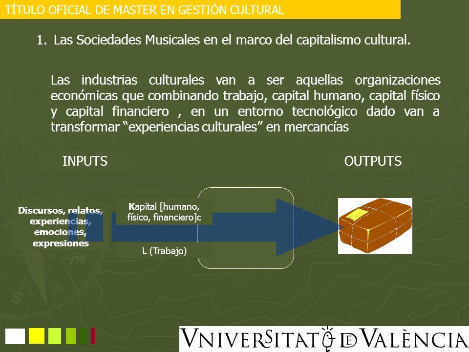 TÍTULO OFICIAL DE MASTER EN GESTIÓN CULTURAL 1.Las Sociedades Musicales en el marco del capitalismo cultural. Las industrias culturales van a ser aque