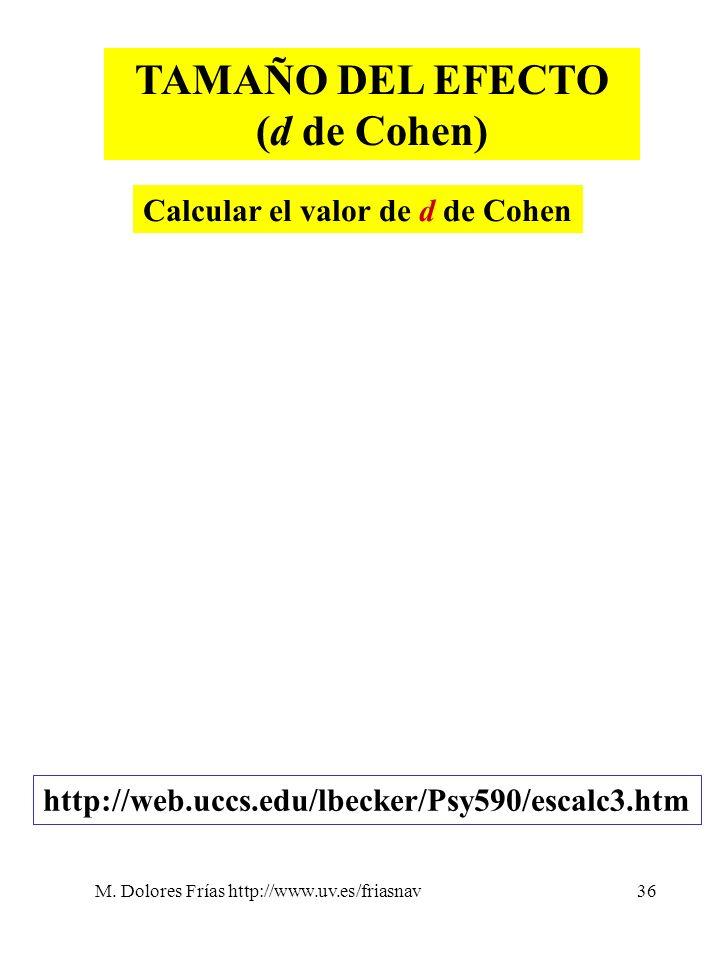 M. Dolores Frías http://www.uv.es/friasnav36 TAMAÑO DEL EFECTO (d de Cohen) Calcular el valor de d de Cohen http://web.uccs.edu/lbecker/Psy590/escalc3