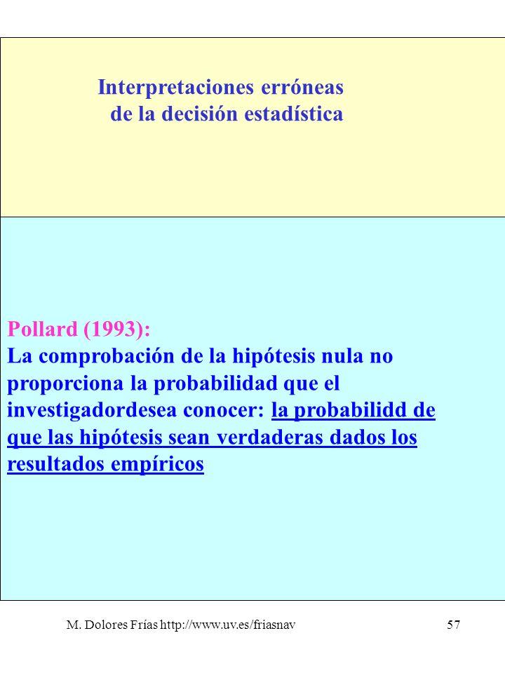 M. Dolores Frías http://www.uv.es/friasnav57 Interpretaciones erróneas de la decisión estadística 4. No nos dice lo que realmente queremos saber Polla