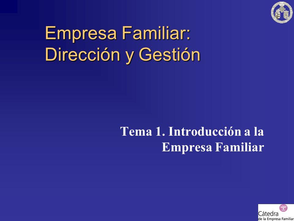 Empresa Familiar: Dirección y Gestión Tema 1. Introducción a la Empresa Familiar