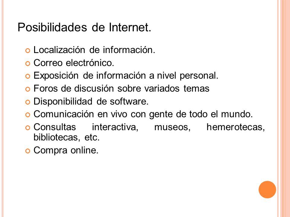Posibilidades de Internet.Localización de información.