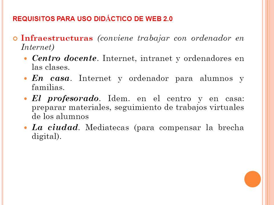REQUISITOS PARA USO DID Á CTICO DE WEB 2.0 Infraestructuras (conviene trabajar con ordenador en Internet) Centro docente.