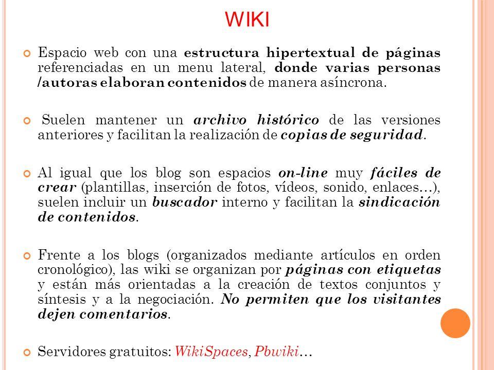 WIKI Espacio web con una estructura hipertextual de páginas referenciadas en un menu lateral, donde varias personas /autoras elaboran contenidos de manera asíncrona.