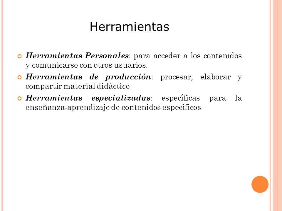 Herramientas Herramientas Personales : para acceder a los contenidos y comunicarse con otros usuarios.