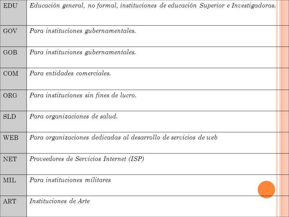 EDU Educación general, no formal, instituciones de educación Superior e Investigadoras.