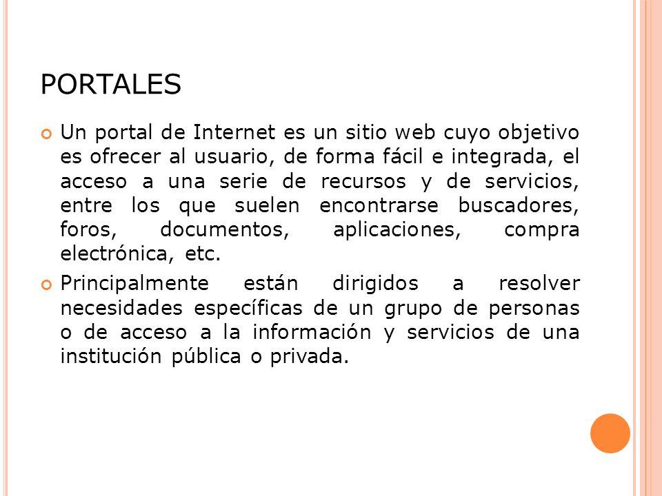 PORTALES Un portal de Internet es un sitio web cuyo objetivo es ofrecer al usuario, de forma fácil e integrada, el acceso a una serie de recursos y de servicios, entre los que suelen encontrarse buscadores, foros, documentos, aplicaciones, compra electrónica, etc.