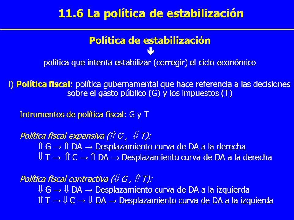 11.6 La política de estabilización Política de estabilización política que intenta estabilizar (corregir) el ciclo económico i) Política fiscal: polít