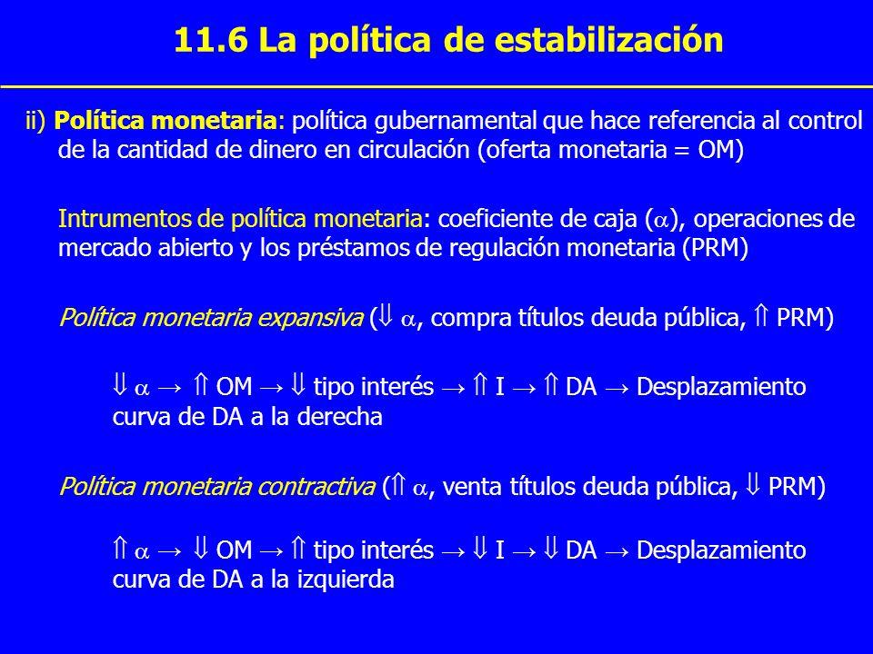 11.6 La política de estabilización ii) Política monetaria: política gubernamental que hace referencia al control de la cantidad de dinero en circulaci