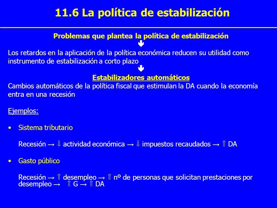 11.6 La política de estabilización Problemas que plantea la política de estabilización Los retardos en la aplicación de la política económica reducen