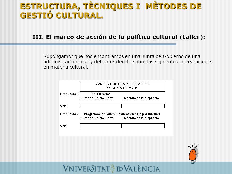III. El marco de acción de la política cultural (taller): Supongamos que nos encontramos en una Junta de Gobierno de una administración local y debemo