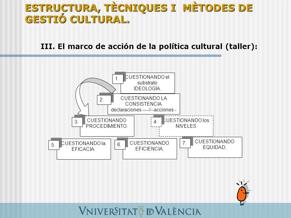 III. El marco de acción de la política cultural (taller): CUESTIONANDO el substrato IDEOLOGÍA. 1. CUESTIONANDO LA CONSISTENCIA declaraciones ----//--a
