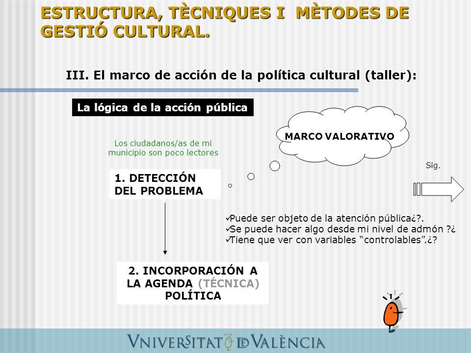 III. El marco de acción de la política cultural (taller): La lógica de la acción pública 1. DETECCIÓN DEL PROBLEMA MARCO VALORATIVO 2. INCORPORACIÓN A