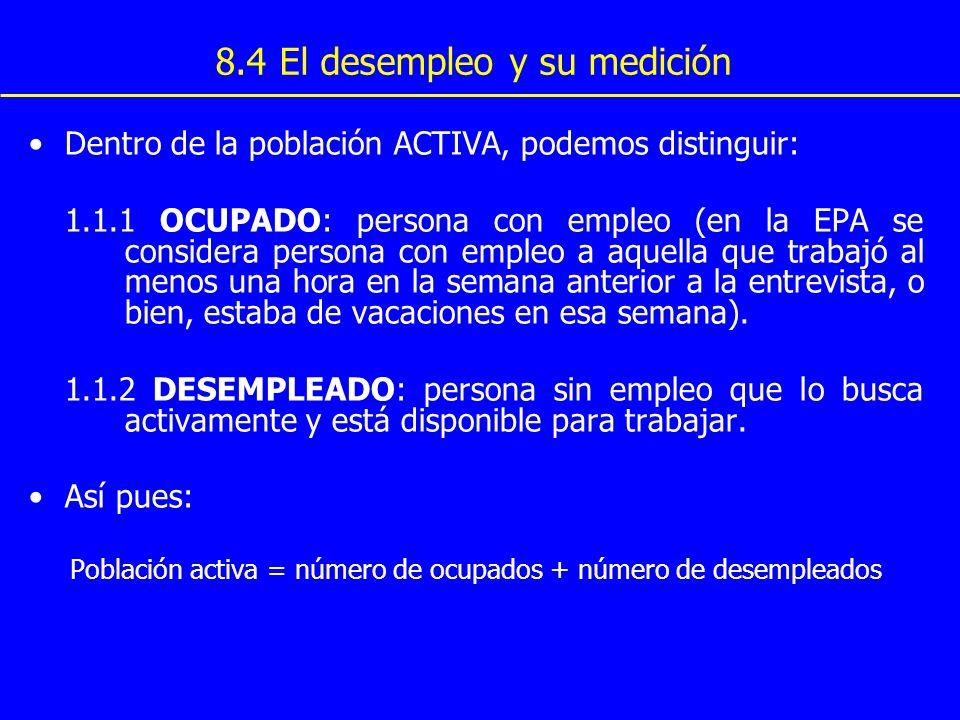 8.4 El desempleo y su medición Dentro de la población ACTIVA, podemos distinguir: 1.1.1 OCUPADO: persona con empleo (en la EPA se considera persona co