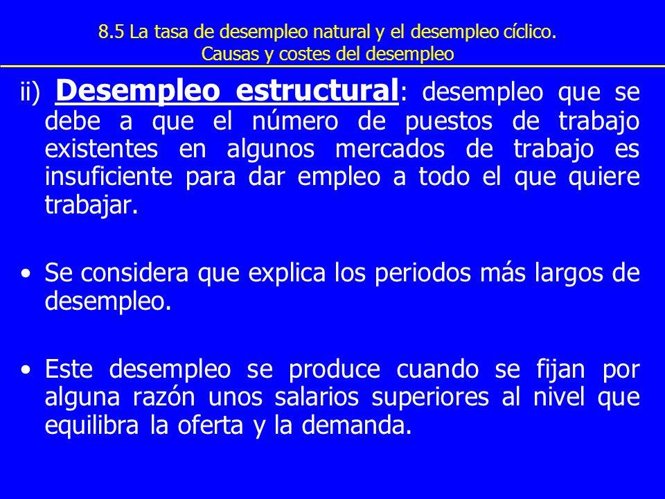 8.5 La tasa de desempleo natural y el desempleo cíclico. Causas y costes del desempleo ii) Desempleo estructural : desempleo que se debe a que el núme