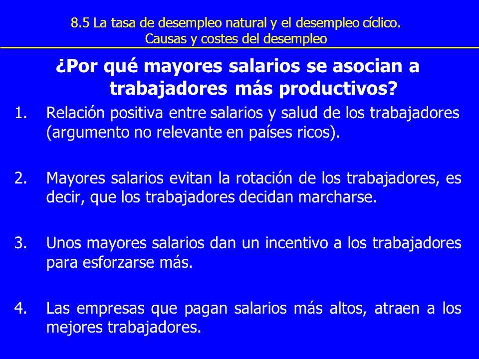 8.5 La tasa de desempleo natural y el desempleo cíclico. Causas y costes del desempleo ¿Por qué mayores salarios se asocian a trabajadores más product