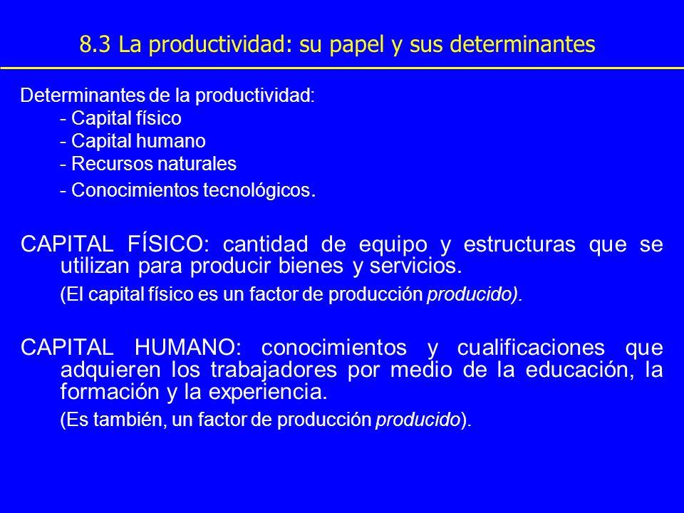 8.3 La productividad: su papel y sus determinantes Determinantes de la productividad: - Capital físico - Capital humano - Recursos naturales - Conocim