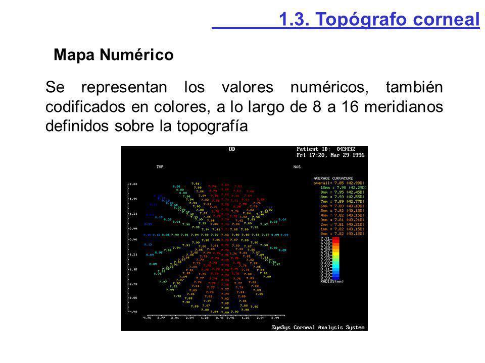 Mapa Numérico Se representan los valores numéricos, también codificados en colores, a lo largo de 8 a 16 meridianos definidos sobre la topografía 1.3.