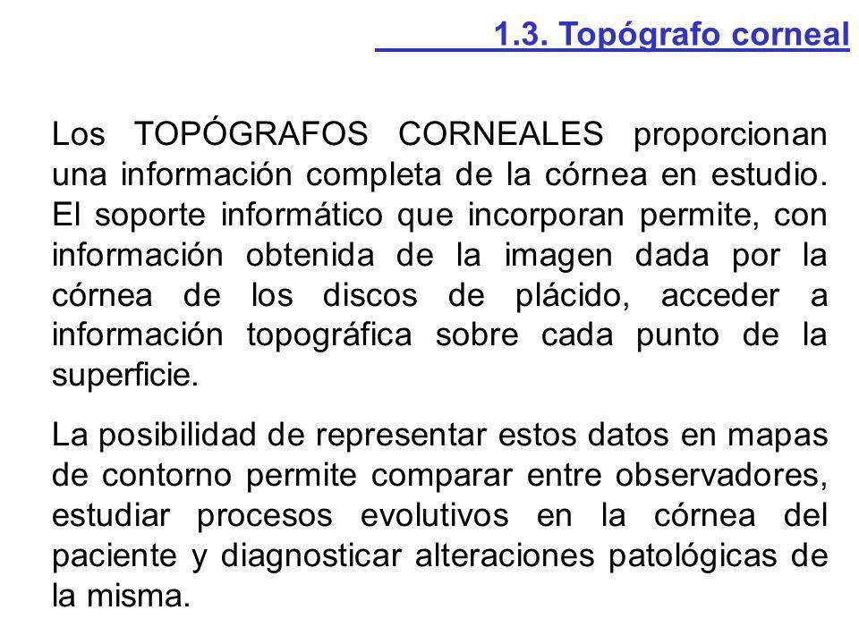 Los TOPÓGRAFOS CORNEALES proporcionan una información completa de la córnea en estudio. El soporte informático que incorporan permite, con información
