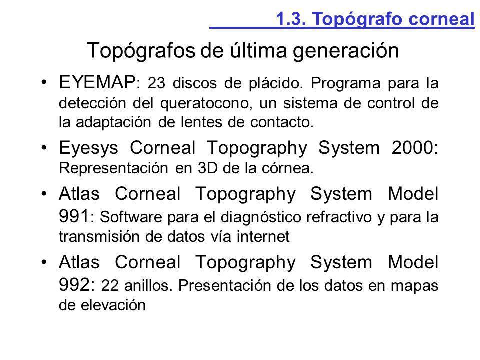 EYEMAP : 23 discos de plácido. Programa para la detección del queratocono, un sistema de control de la adaptación de lentes de contacto. Eyesys Cornea
