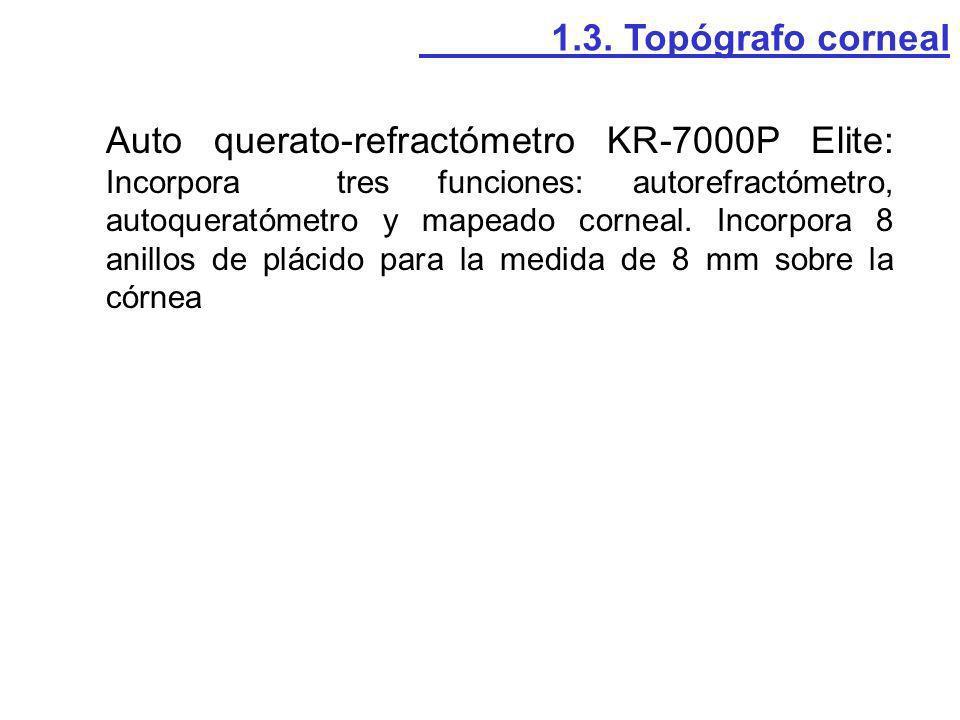Auto querato-refractómetro KR-7000P Elite: Incorpora tres funciones: autorefractómetro, autoqueratómetro y mapeado corneal. Incorpora 8 anillos de plá