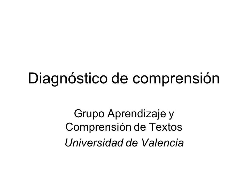 Diagnóstico de comprensión Grupo Aprendizaje y Comprensión de Textos Universidad de Valencia