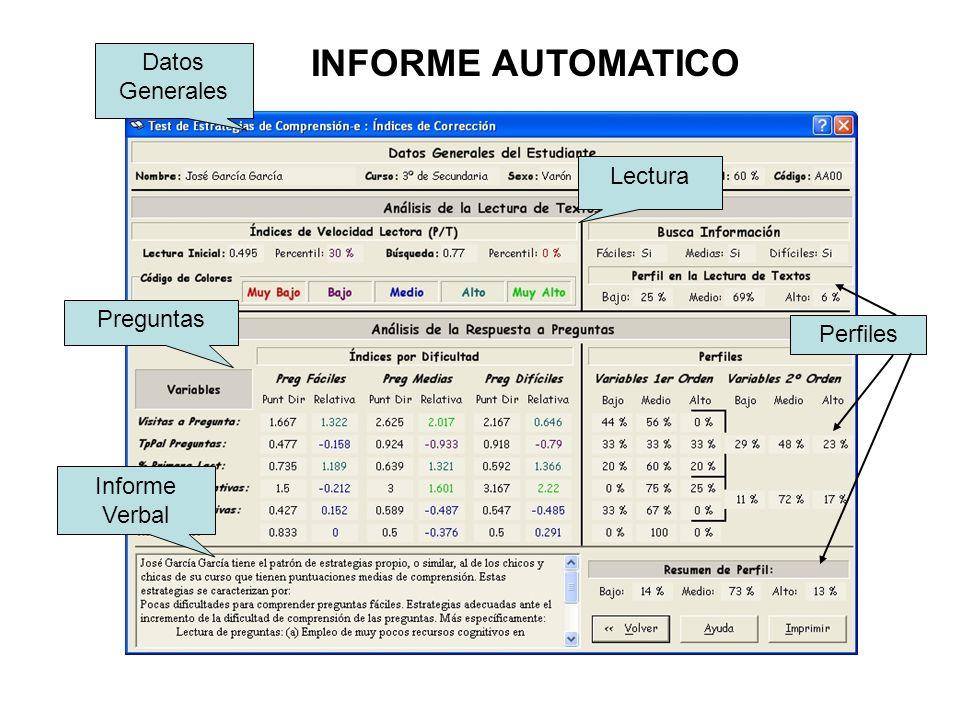 Datos Generales Lectura Preguntas Informe Verbal Perfiles INFORME AUTOMATICO