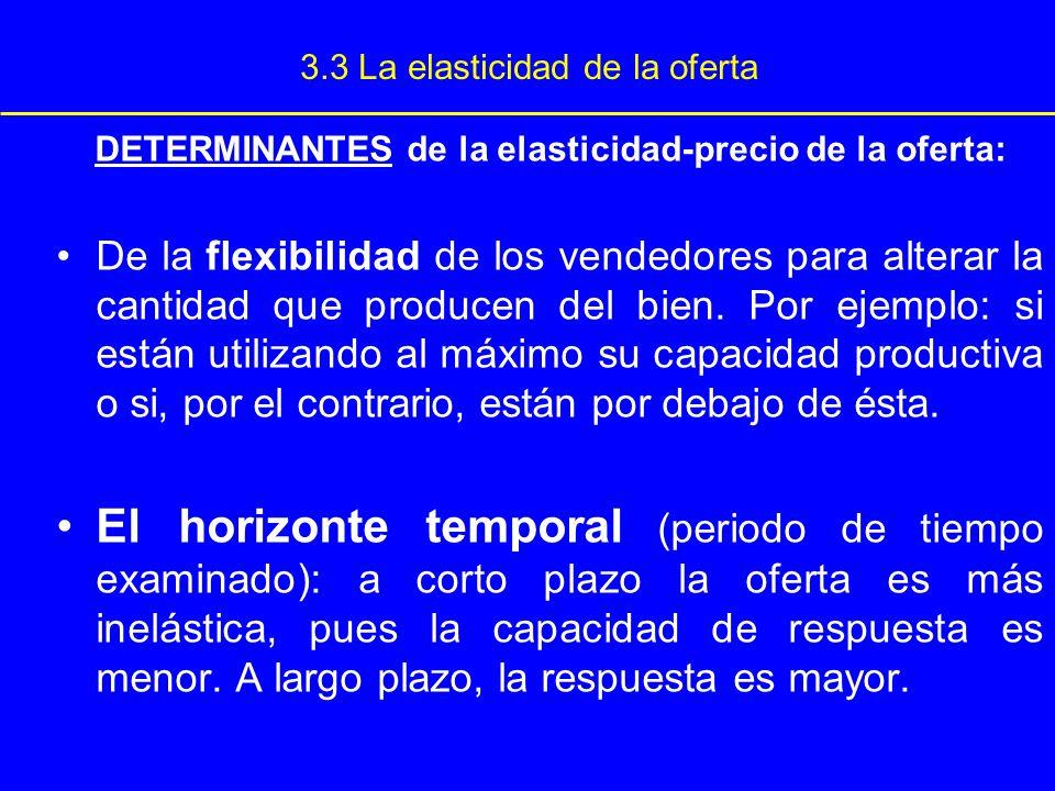 3.3 La elasticidad de la oferta DETERMINANTES de la elasticidad-precio de la oferta: De la flexibilidad de los vendedores para alterar la cantidad que