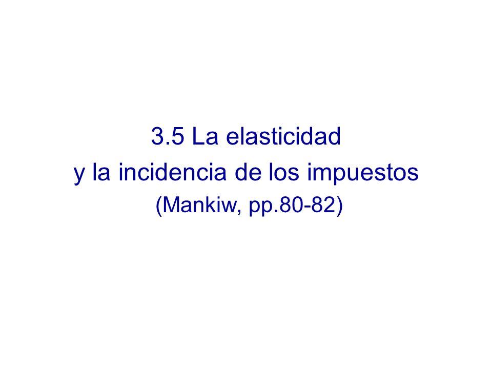 3.5 La elasticidad y la incidencia de los impuestos (Mankiw, pp.80-82)