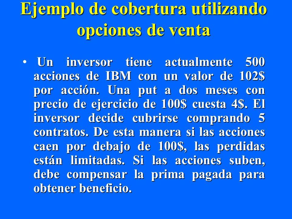 Ejemplo de cobertura utilizando opciones de venta Un inversor tiene actualmente 500 acciones de IBM con un valor de 102$ por acción. Una put a dos mes