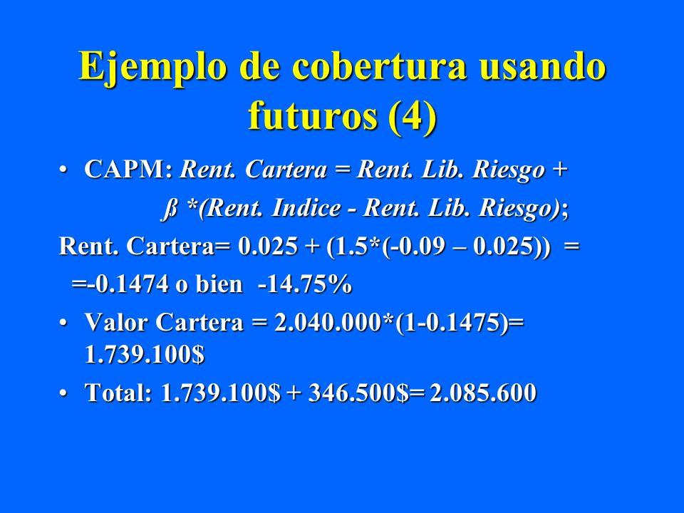 Ejemplo de cobertura usando futuros (4) CAPM: Rent. Cartera = Rent. Lib. Riesgo +CAPM: Rent. Cartera = Rent. Lib. Riesgo + ß *(Rent. Indice - Rent. Li