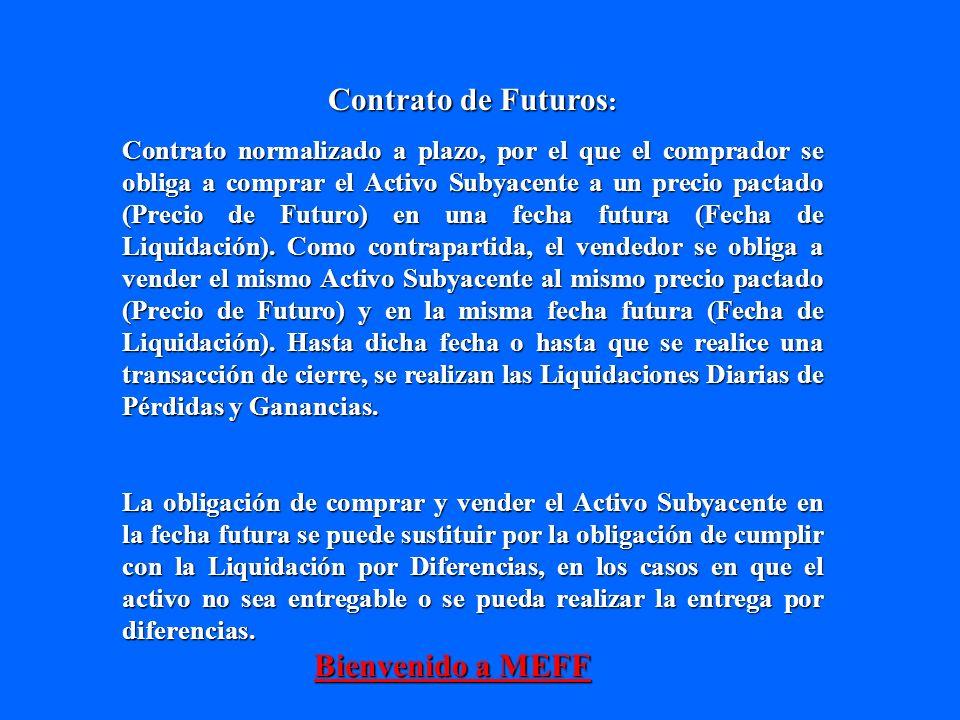 Contrato de Futuros : Contrato normalizado a plazo, por el que el comprador se obliga a comprar el Activo Subyacente a un precio pactado (Precio de Fu