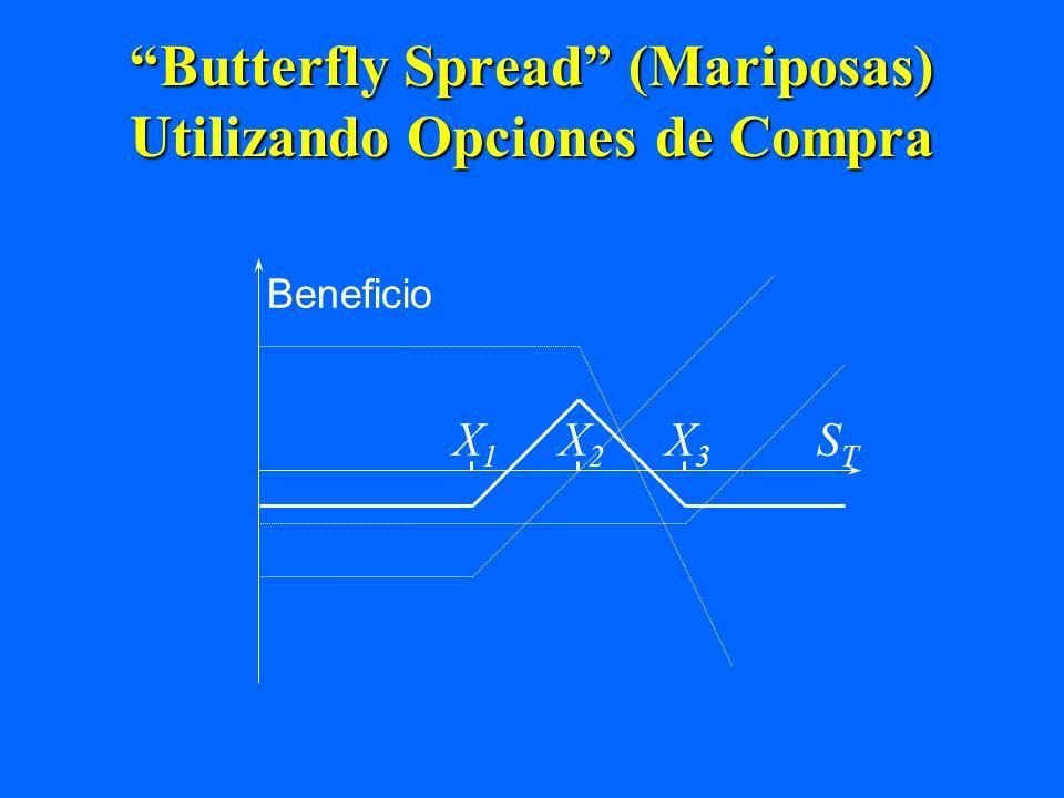Butterfly Spread (Mariposas) Utilizando Opciones de Compra X1X1 X3X3 Beneficio STST X2X2