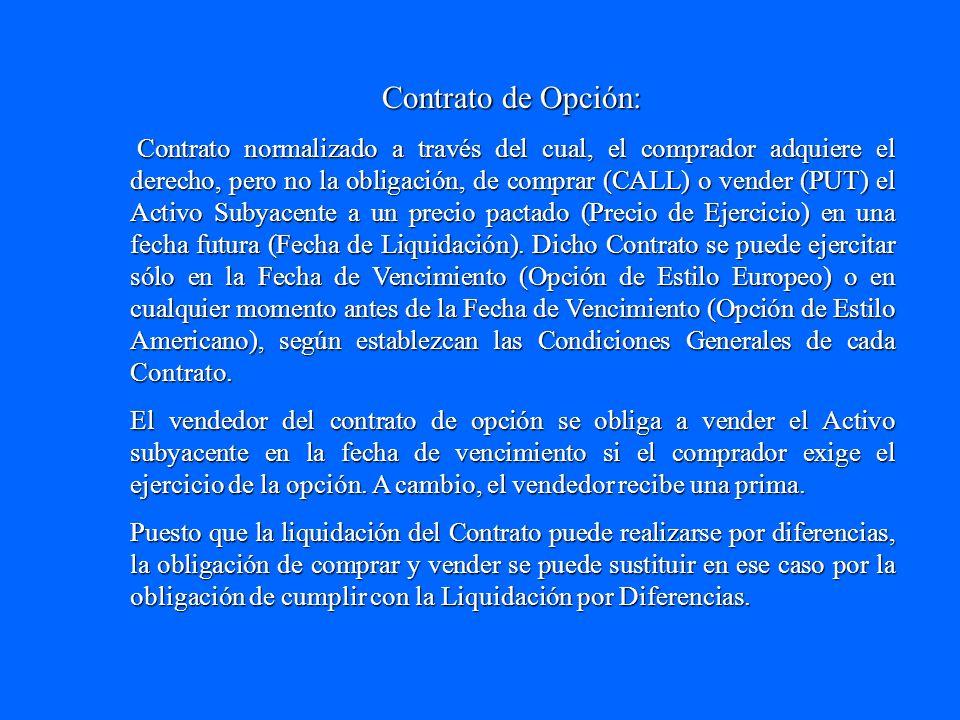 Contrato de Opción: Contrato normalizado a través del cual, el comprador adquiere el derecho, pero no la obligación, de comprar (CALL) o vender (PUT)